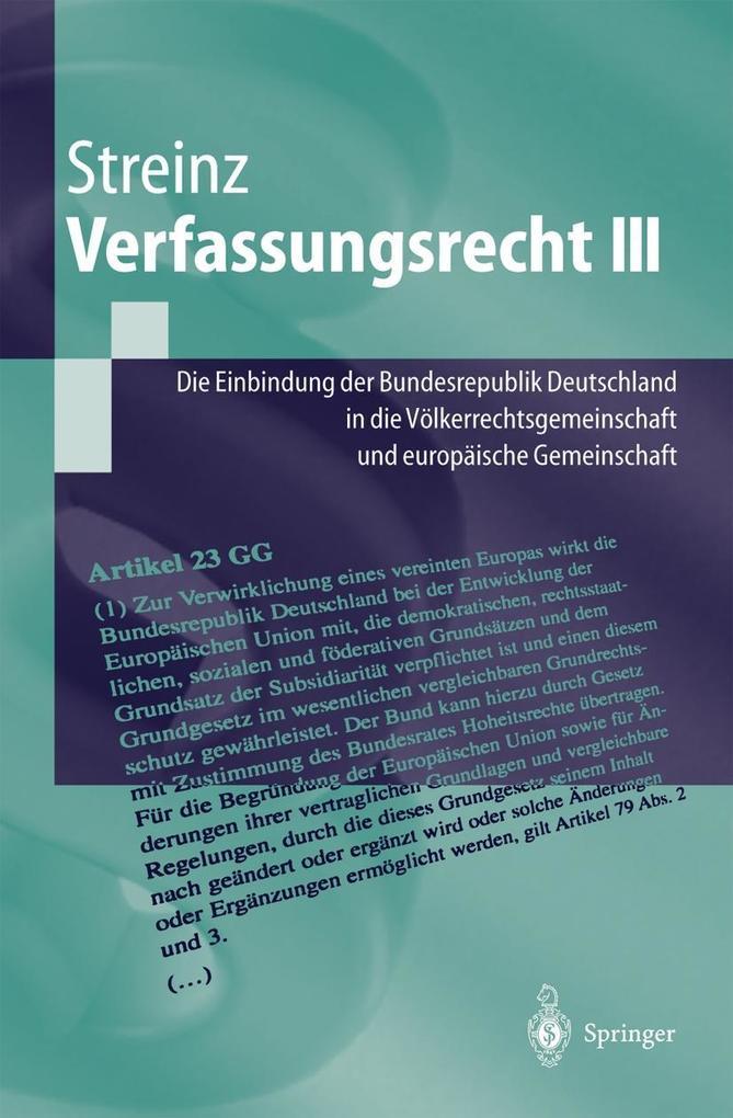 Verfassungsrecht III als Buch