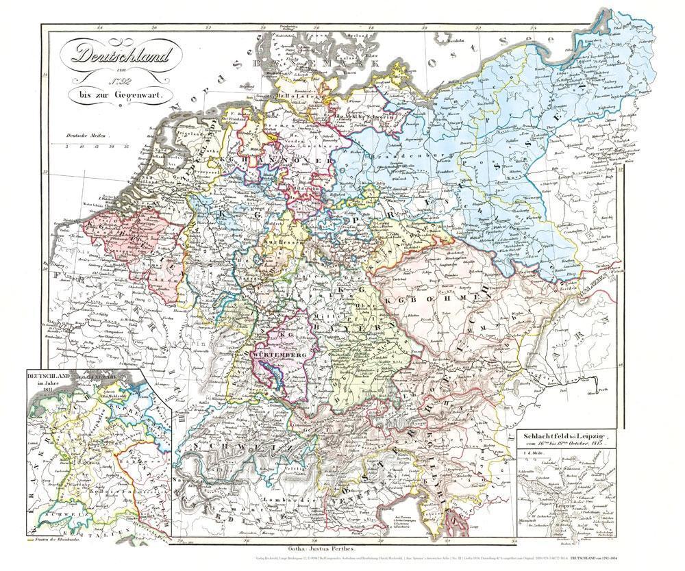 Historische Karte: DEUTSCHLAND von 1792-1854 (P...