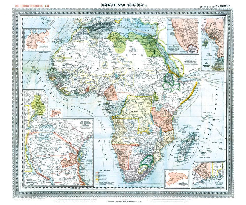 Historische Karte: Afrika, 1890 (Plano) als Buc...