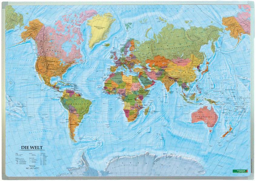 Wandkarte: Die Welt, deutsch, Magnetmarkiertafe...