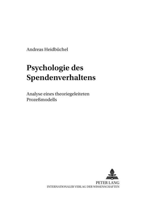 Psychologie des Spendenverhaltens als Buch von ...