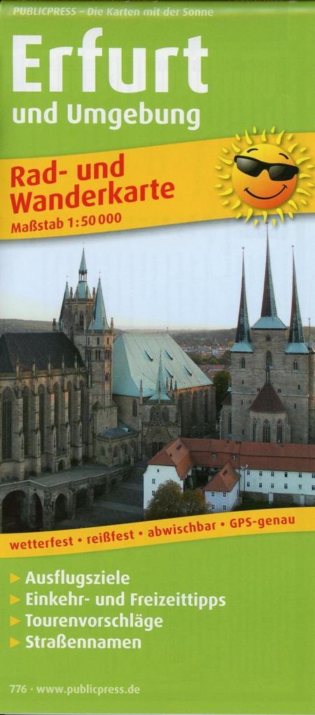Rad- und Wanderkarte Erfurt und Umgebung 1:50 0...