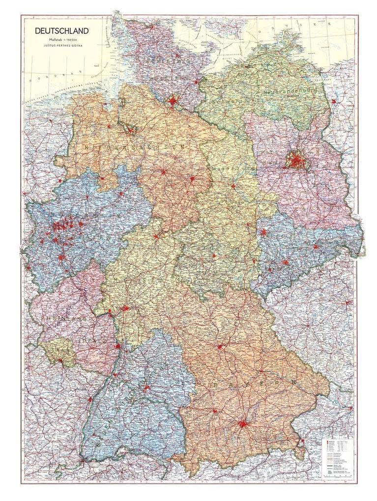 Historische Karte: Deutschland 1952 (plano) als...