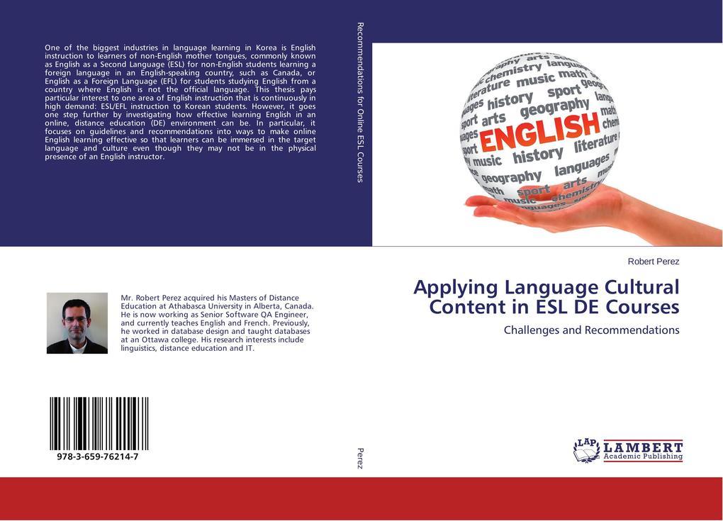 Applying Language Cultural Content in ESL DE Co...