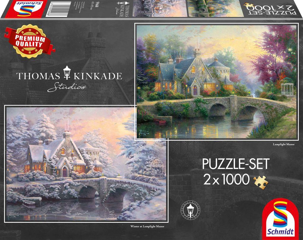 Thomas Kinkade, Lamplight Manour/Winter in Lamplight Manour. Puzzle 2 x 1.000 Teile als sonstige Artikel