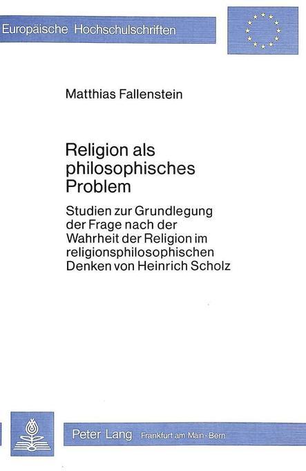 Religion als philosophisches Problem als Buch