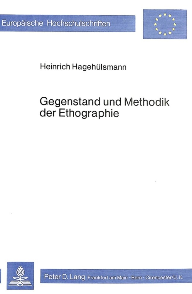 Gegenstand und Methodik der Ethographie als Buc...