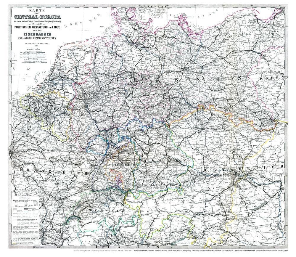 Karte von CENTRAL-EUROPA mit DEUTSCHLAND 1867 (...