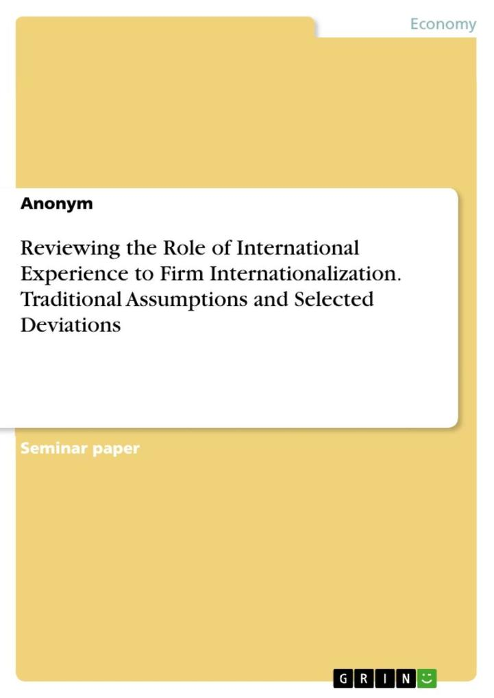 Reviewing the Role of International Experience ...