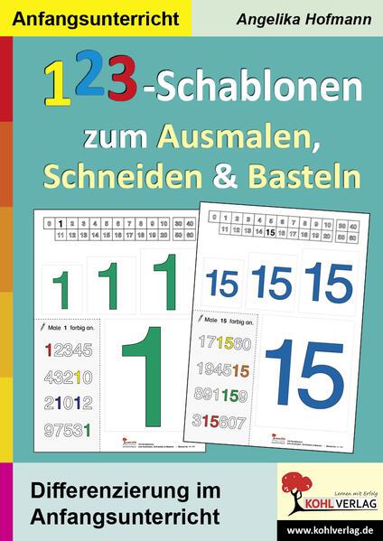 123-Schablonen zum Ausmalen, Schneiden und Bast...