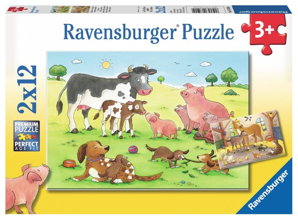 Puzzle für Kinder 'Glückliche Tierfamilien'