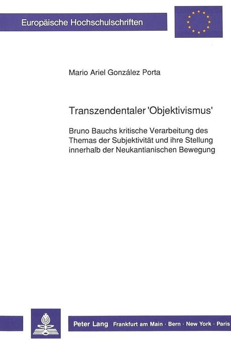 Transzendentaler Objektivismus Buch Mario Ariel González Porta