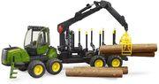 Bruder - John Deere 1210E Rückezug mit 4 Baumstämmen und Holzgreifer