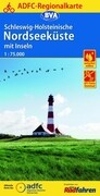 ADFC-Regionalkarte Schleswig-Holsteinische Nordseeküste mit Inseln mit Tagestouren-Vorschlägen 1:75.000