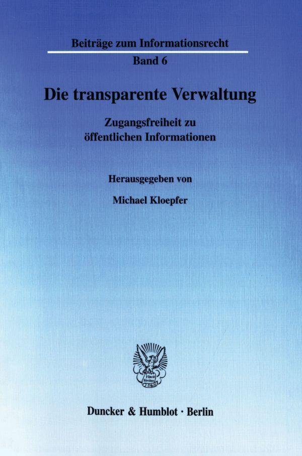 Die transparente Verwaltung als Buch