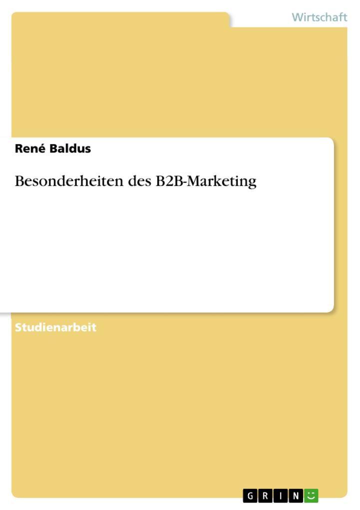 Besonderheiten des B2B-Marketing als Buch von R...