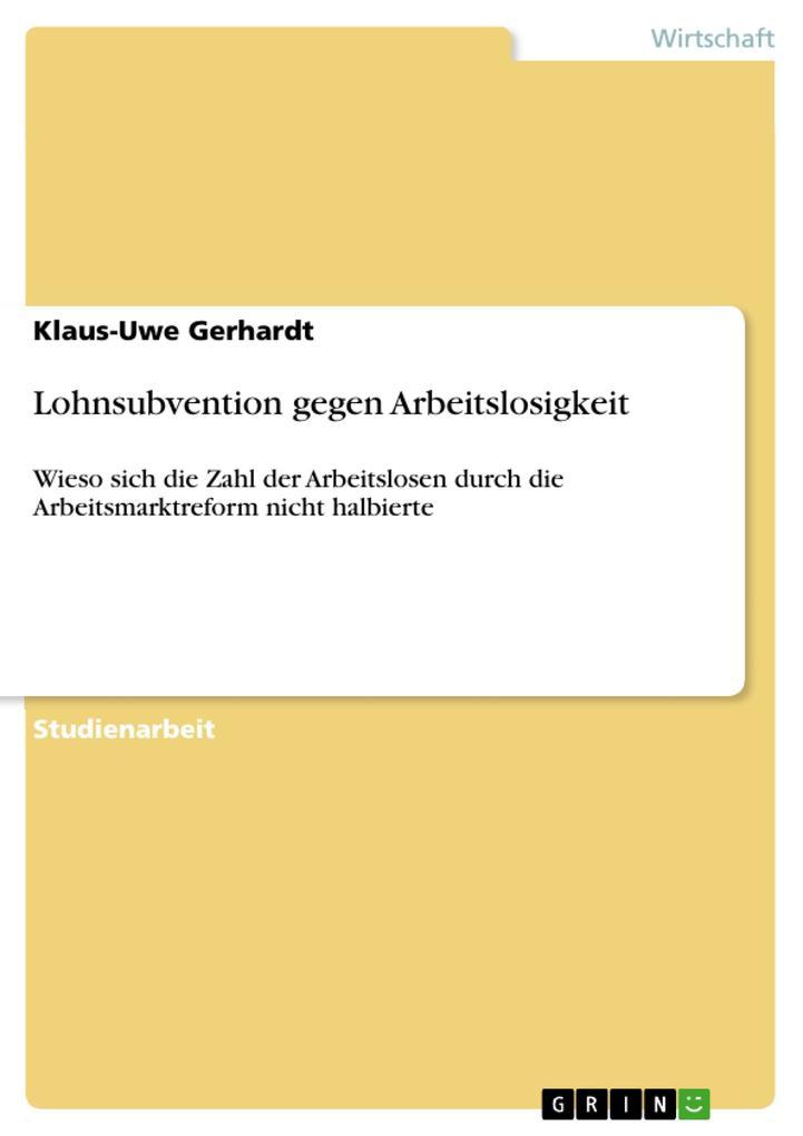 Lohnsubvention gegen Arbeitslosigkeit als eBook...