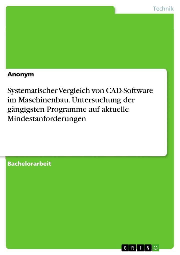 Systematischer Vergleich von CAD-Software im Ma...