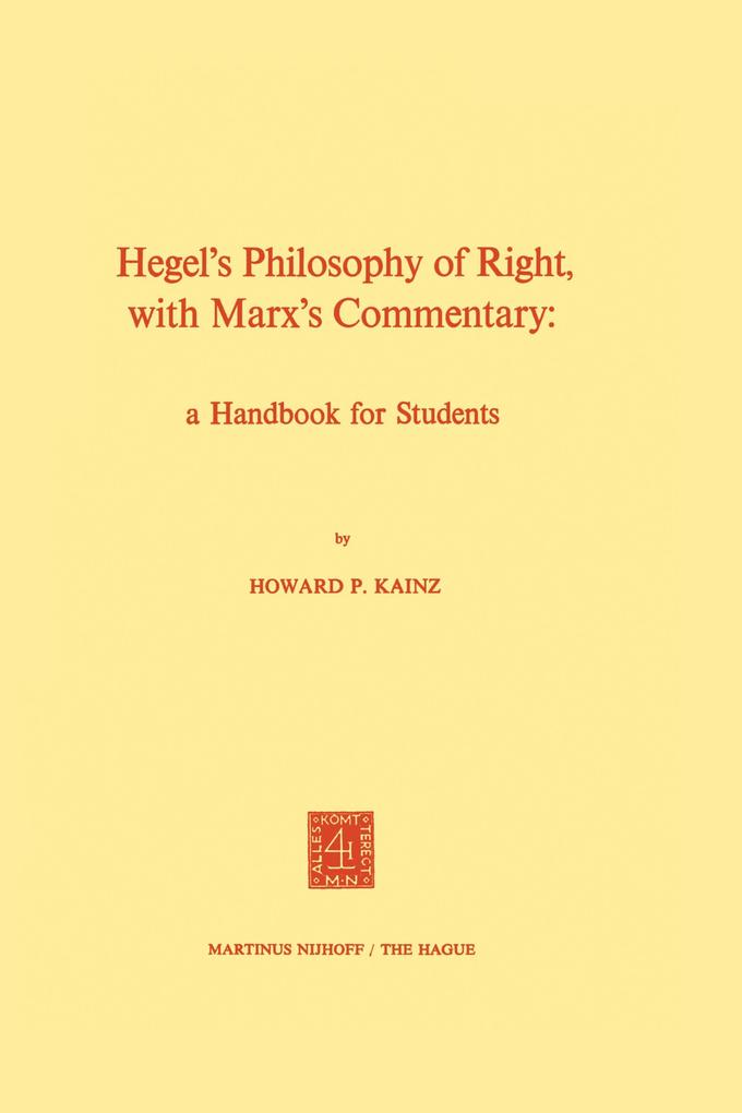 Hegel's Philosophy of Right, with Marx's Commentary als Buch