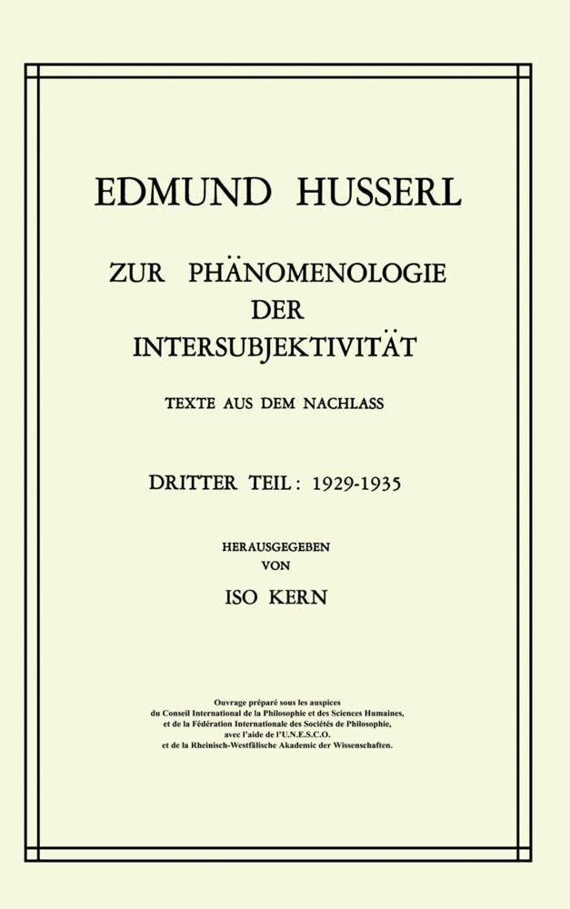 Zur Phänomenologie der Intersubjektivität als Buch