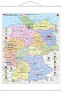 Deutschland politisch mit Wappen 1 : 700.000. Wandkarte mit Metallbeleistung