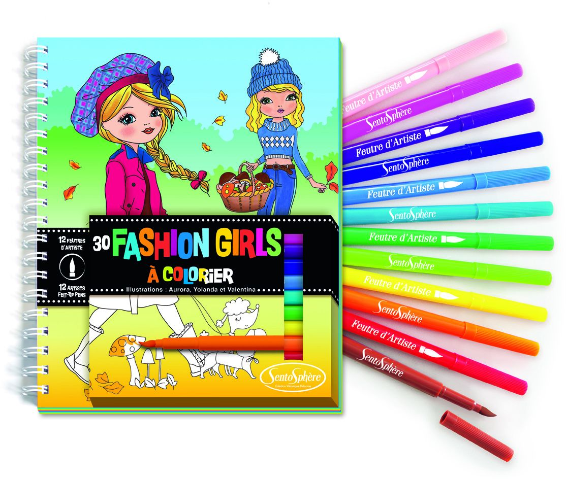 Malbuch Fashion Girls mit Filzstiften