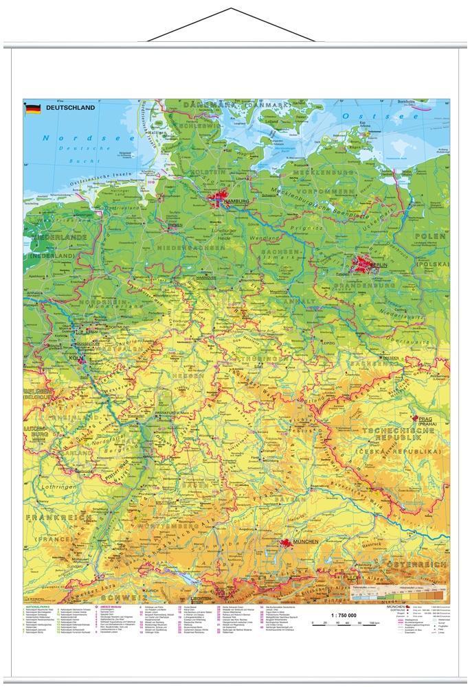 Deutschland physisch 1 : 750 000. Wandkarte mit...