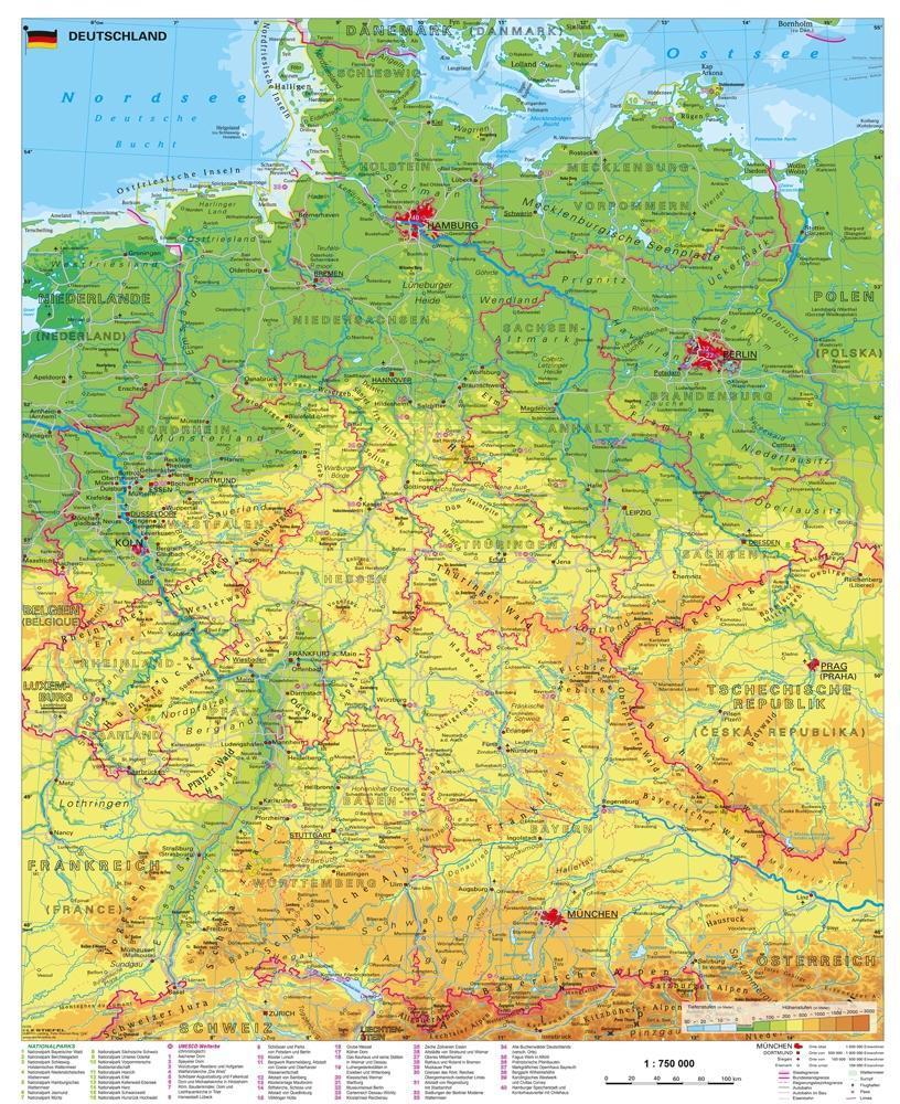 Deutschland physisch 1 : 750 000 als Buch von H...