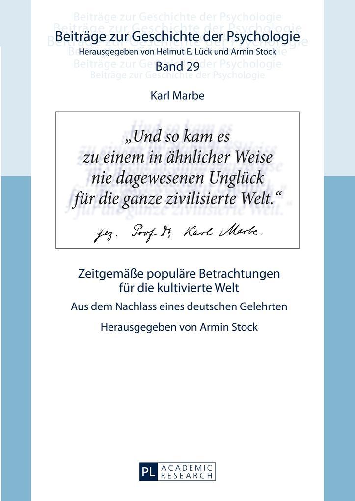 Karl Marbe: Zeitgemäße populäre Betrachtungen f...