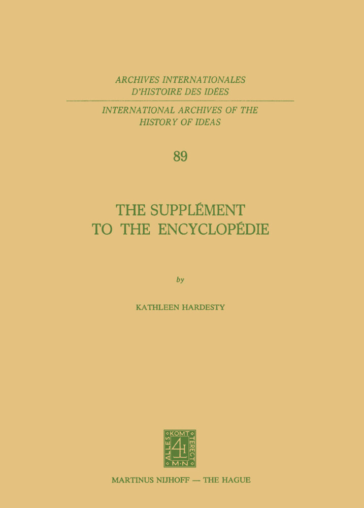 The Supplément to the Encyclopédie als Buch