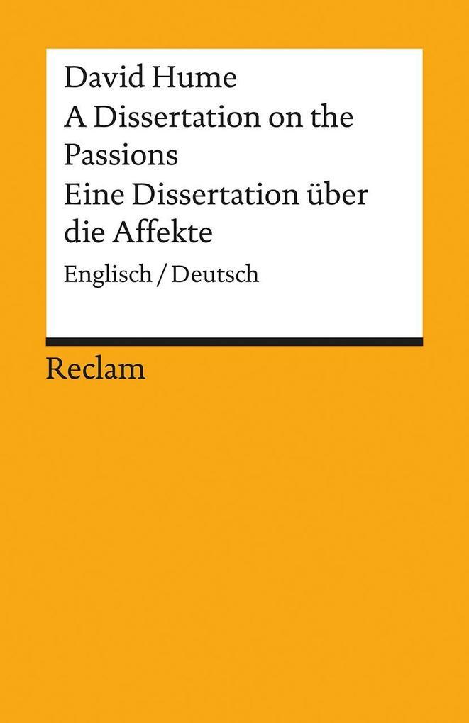 A Dissertation on the Passions / Eine Dissertation über die Affekte als Taschenbuch