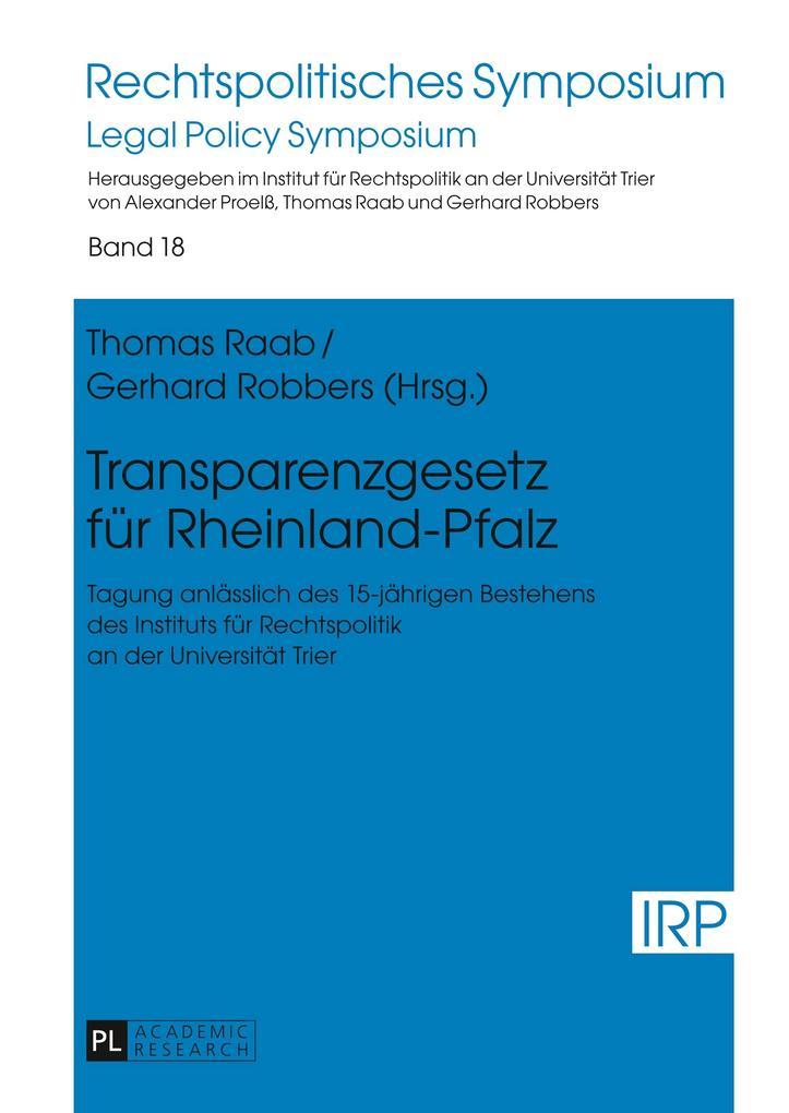 Transparenzgesetz für Rheinland-Pfalz als Buch von