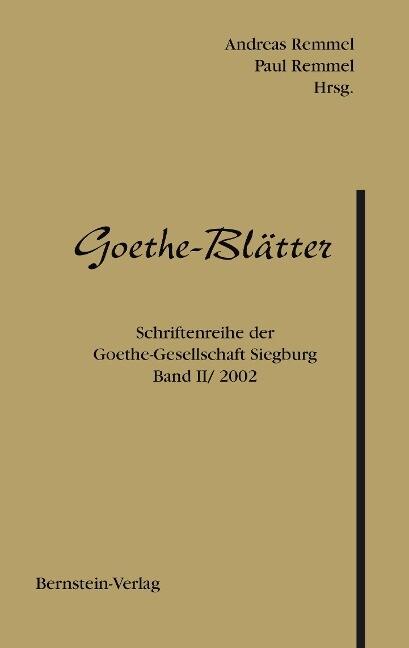 Goethe-Blätter als Buch