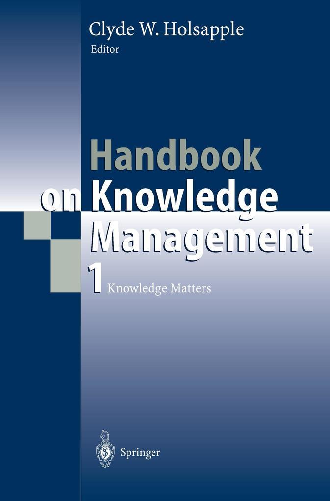 Handbook on Knowledge Management 1 als Buch