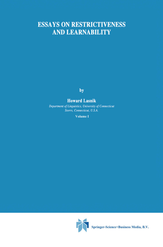 Essays on Restrictiveness and Learnability als Buch