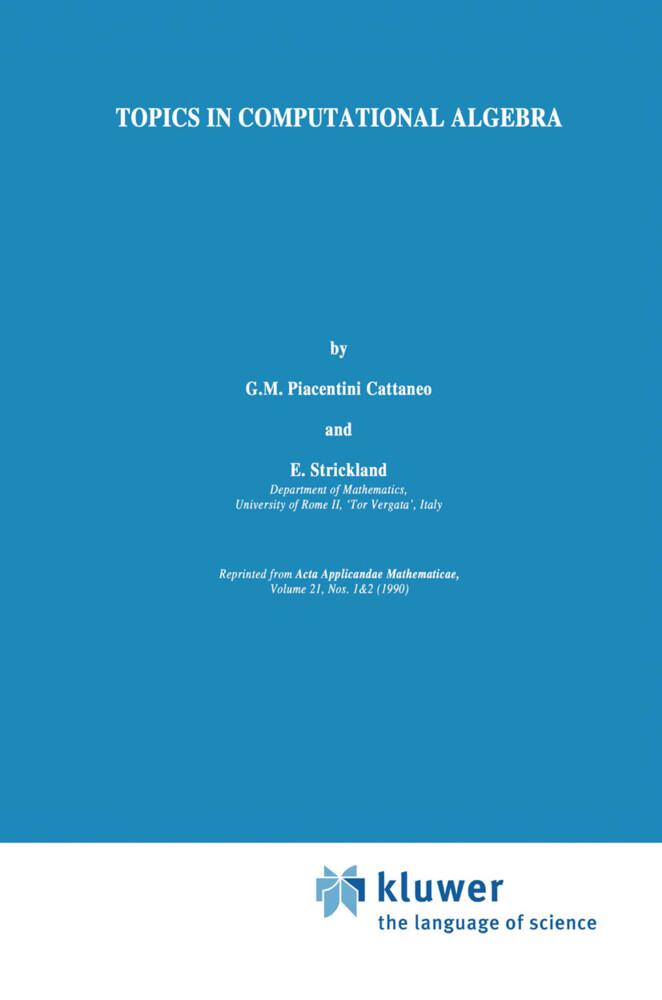 Topics in Computational Algebra als Buch