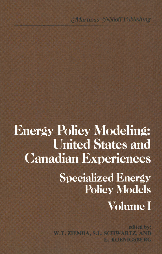 Energy Policy Modeling: United States and Canadian Experiences als Buch