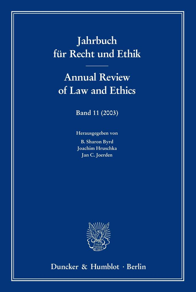 Jahrbuch für Recht und Ethik 11 / Annual Review of Law and Ethics 11 als Buch