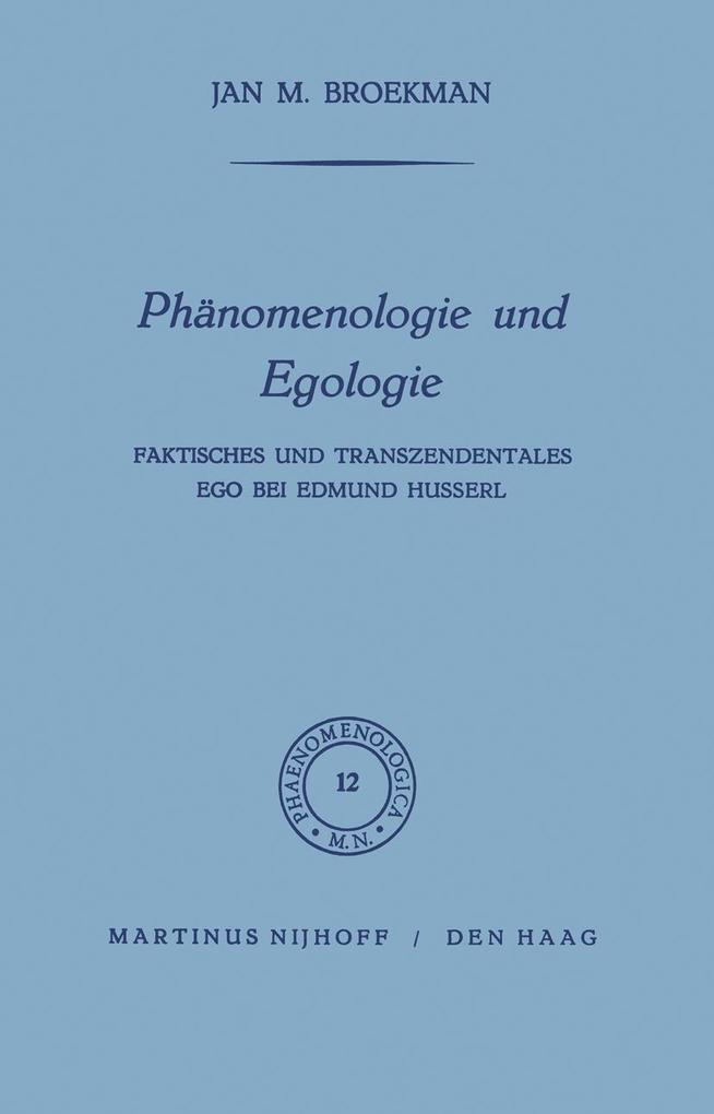 Phänomenologie und Egologie als Buch