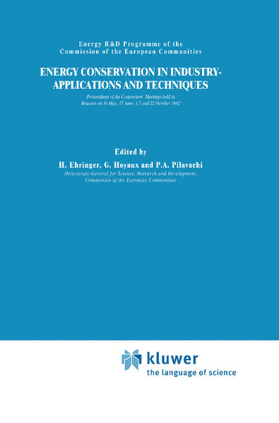 Energy Conservation in Industry Applications and Techniques als Buch
