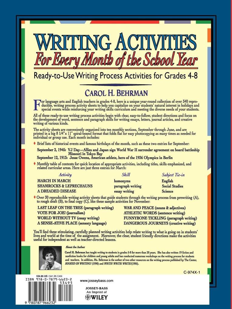 Writing Activities for Every Month of the School Year: Ready-To-Use Writing Process Activities for Grades 4-8 als Taschenbuch