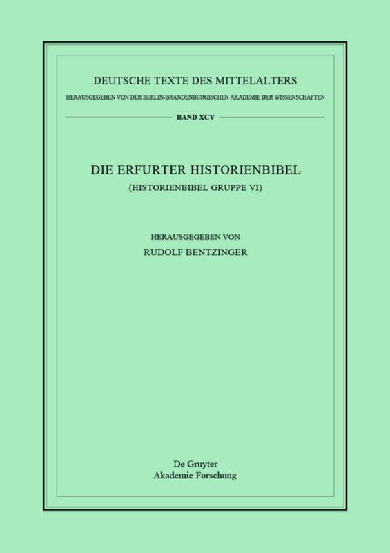 Die Erfurter Historienbibel als Buch von