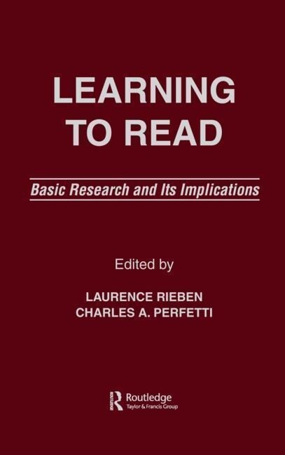 Learning to Read: Basic Research and Its Implications als Buch