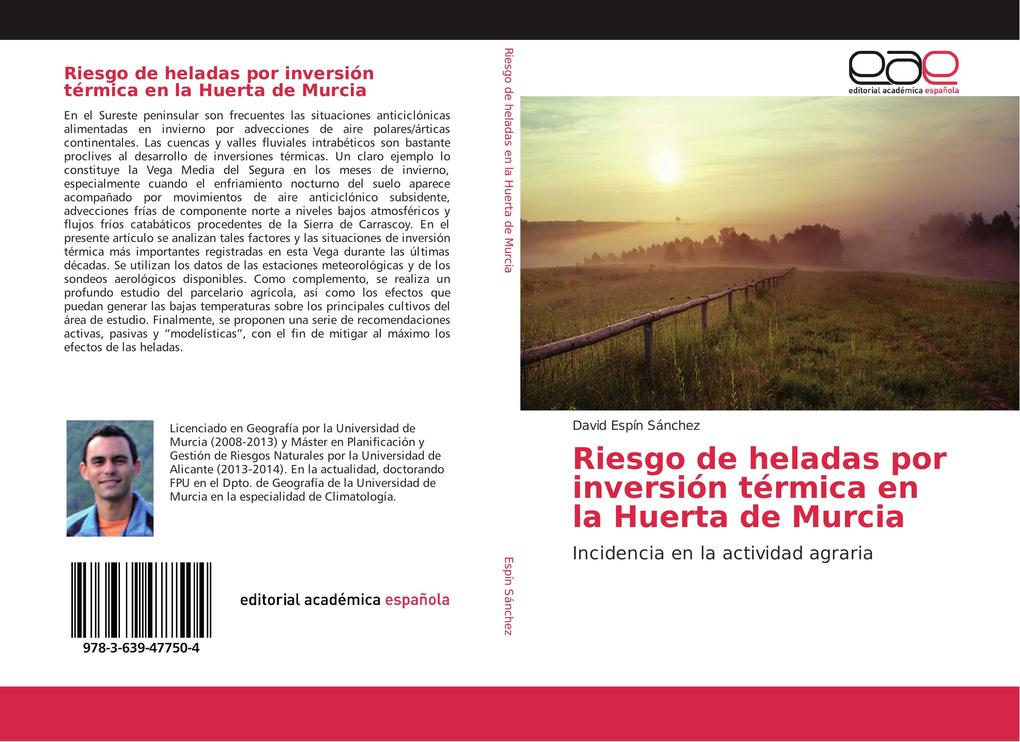 Riesgo de heladas por inversión térmica en la Huerta de Murcia als Buch (gebunden)