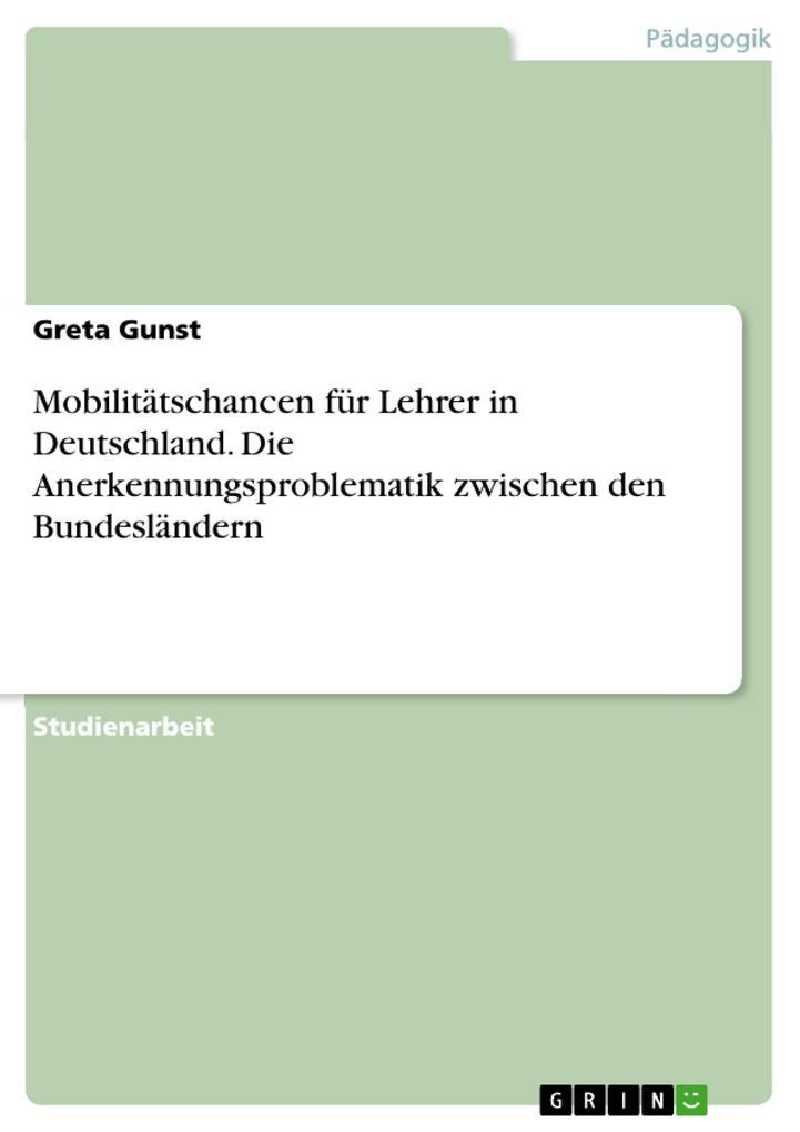 Mobilitätschancen für Lehrer in Deutschland. Di...