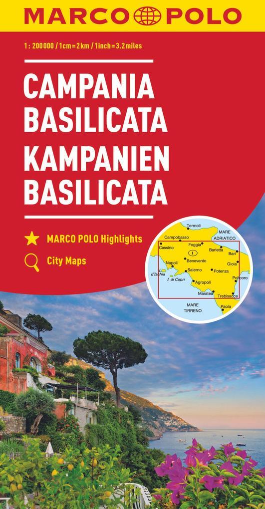 MARCO POLO Karte Italien 12. Kampanien, Basilicata 1:200 000 als Blätter und Karten