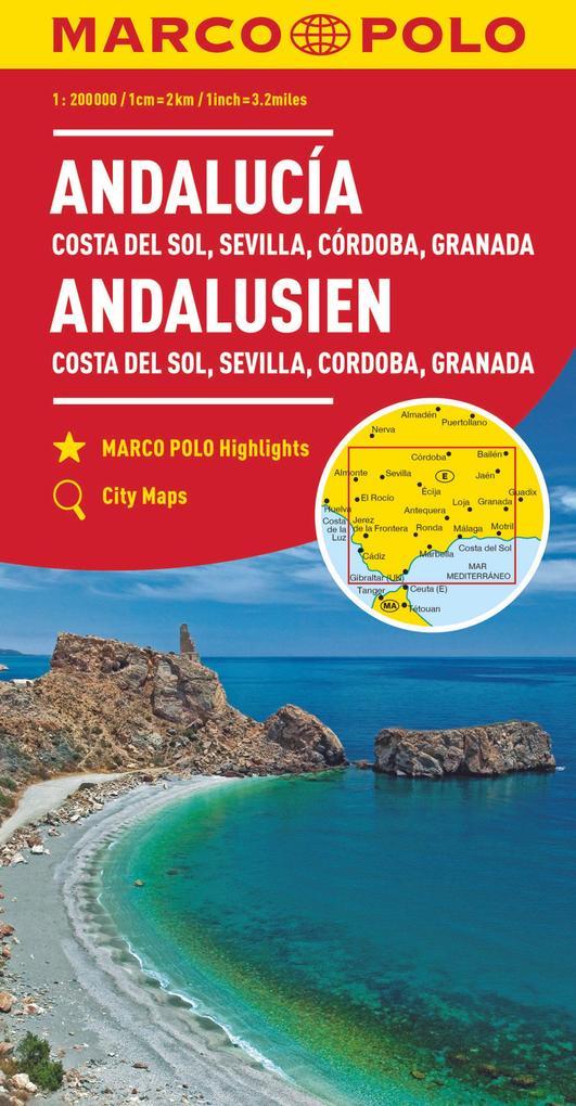 MARCO POLO Karte Andalusien, Costa del Sol, Sev...