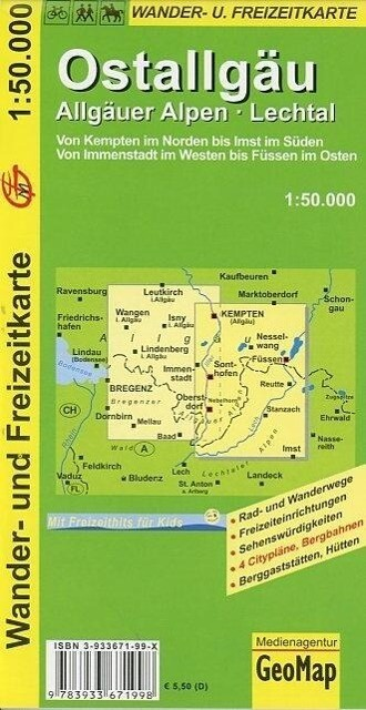 Ostallgäu 1 : 50 000. Wander- und Freizeitkarte als Buch