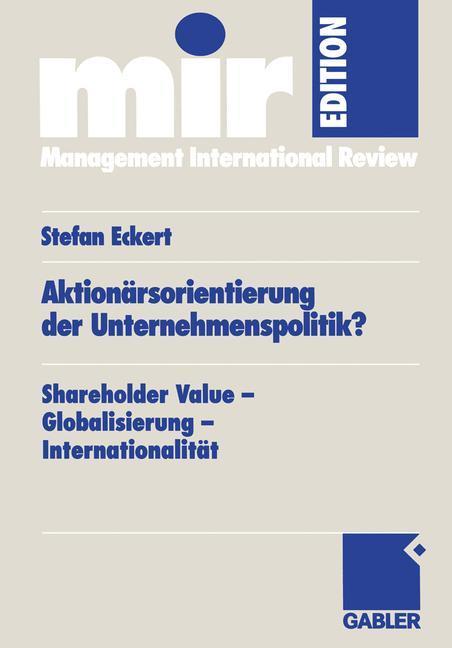 Aktionärsorientierung der Unternehmenspolitik? als Buch