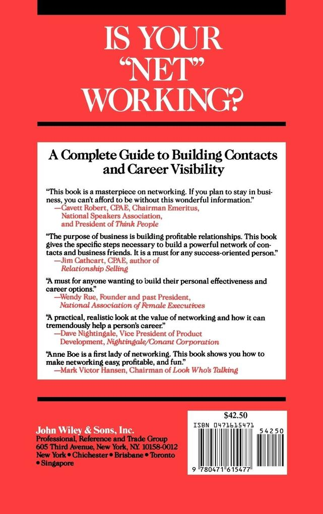 "Is Your ""Net"" Working?: A Complete Guide to Building Contacts and Career Visibility als Buch"
